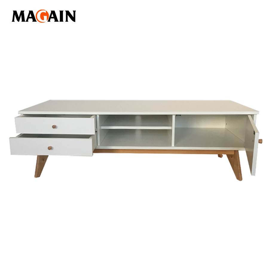 OEM Supplier Solid Wooden Furniture Living Room Showcase Designs High Gloss TV Stand
